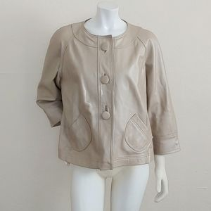 Chicos 3 Button 3/4 Sleeve Leather Jacket SZ 3